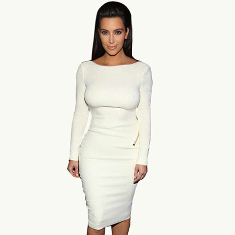 Fitted Backless Long Sleeve Knee Length Bodycon Dress White