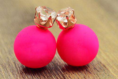 Crystal 16MM Pearl Frosted Matte Stud Earrings for Women