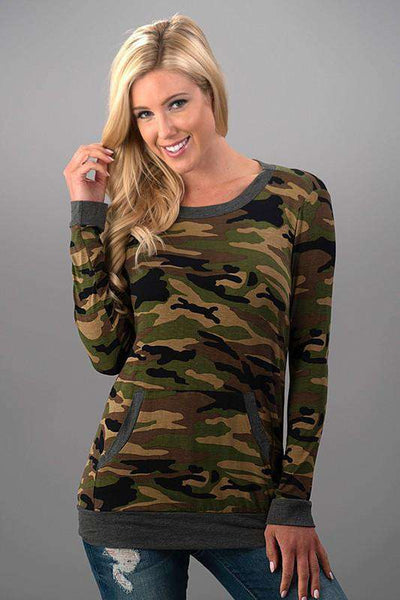 New Women's Camo Tunic Sweatshirt Long Sleeve Army Green