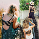Women Cut Out  Cage Back Backless Crop Cami Top Bralette Bra