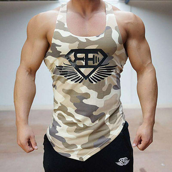 Cotton Designed Men's Tank Top  Fitness Stringer Vest Casual