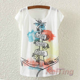 Tops Animal Owl Print T-shirt Printed White Woman Clothes