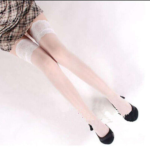 Lace Top Silicone Band Stay Up Thigh High Stockings