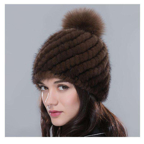Fur Hat For Women Winter Knitted Mink Fur