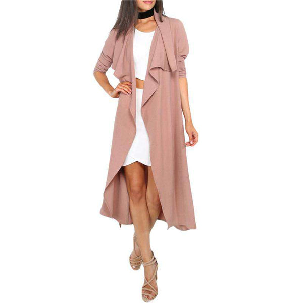 Long Sleeve Front Open Waist Tie Casual Trench Coat