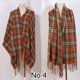 Long Tassels Red Plaid Cashmere Woven Scarves