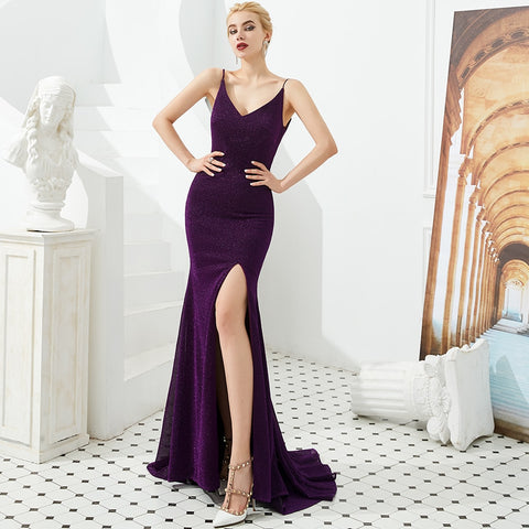 High Slit V-Neck Backless Sparkle Mermaid Bridesmaid Dresses