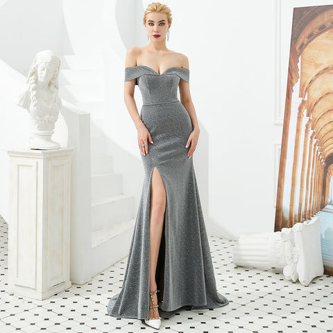 High Slit Off Shoulder Sparkling Mermaid Bridesmaid Dress