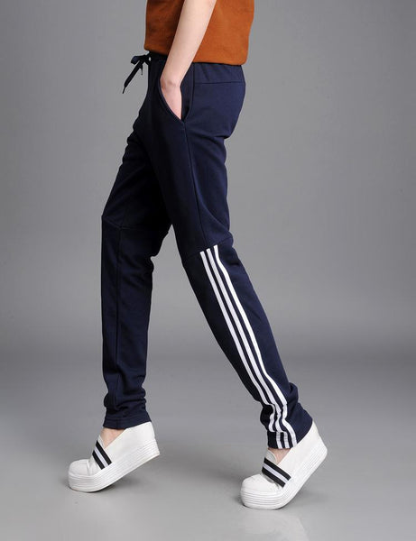 Women Stripe Casual Workout Mid Waist Harem Pants