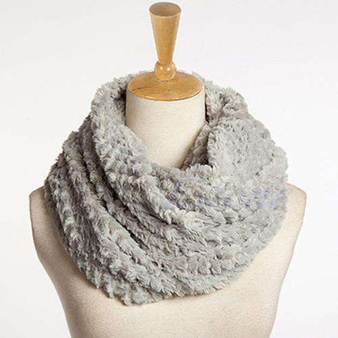 Faux Fur Infinity Circle Cowl Neck Winter Scarf Shawl