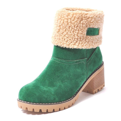 Square Heel Platform Slip-On Ankle Winter Boots