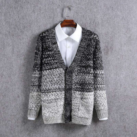 Long Sleeve Men's Knit Sweater Casual V-Neck