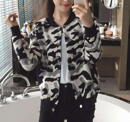 Mandarin Collar Long Sleeve Sweater Women