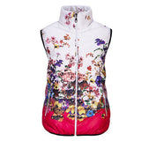 Women Cotton Down O-Neck Floral Jacket Vest Coat