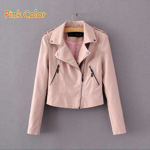 Brand Motorcycle PU Leather Jacket Women Zipper Outerwear