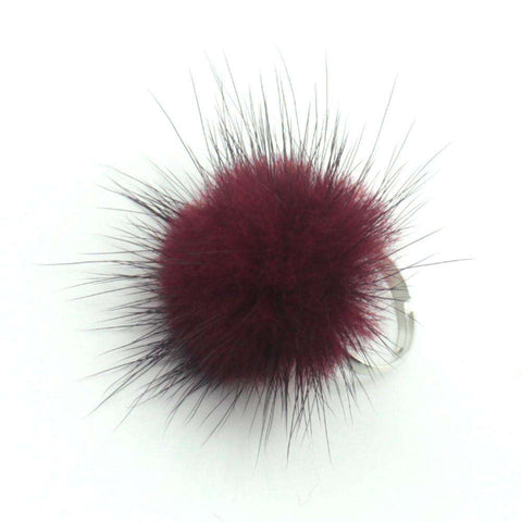 Mink Fur Ring Mink Fur Ball Fur Pom Poms Resizable Silver For Women