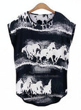 Summer Women T shirt Casual Top Watercolor Horse Prints Loose Fashion
