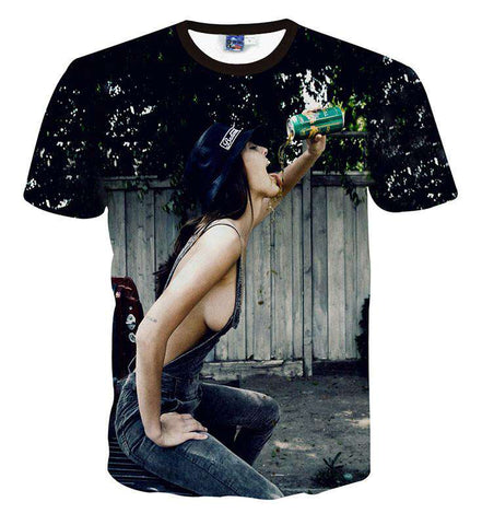 men brand Girl with drinking Printed t-shirt 3d