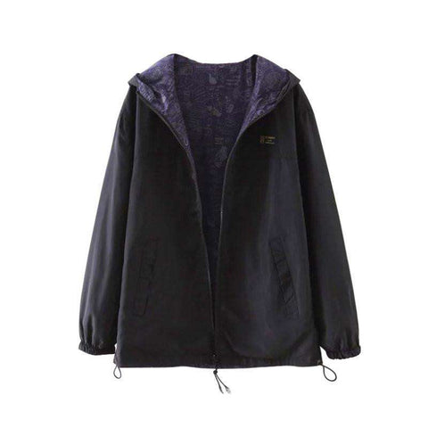 Jacket Pocket Zipper Hooded Two Side Wear Outwear