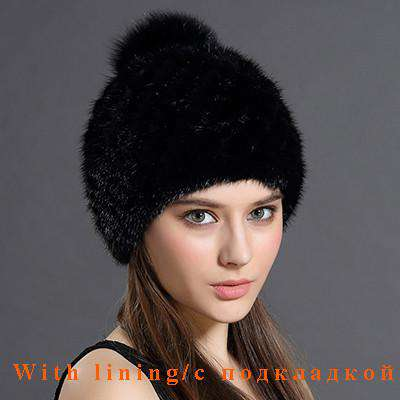 Cap With Fox Fur Pompoms For Women