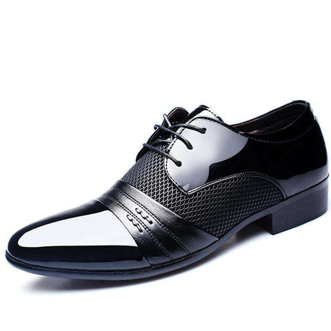 Men's Patent Leather Pointed Toe Lace Up Dress Shoes Black