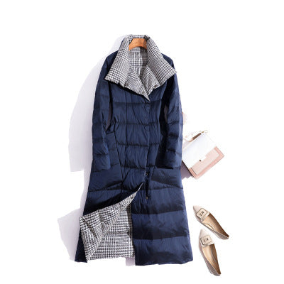 Double Sided Long Turtleneck Duck Down Winter Parka Coat