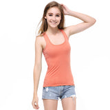 Women Candy Color Tanks Fitness A T Shirt Top 100% Cotton Singlet