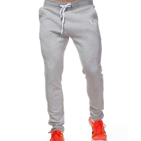Casual Elastic Cotton Mens Fitness Workout Pants Skinny,