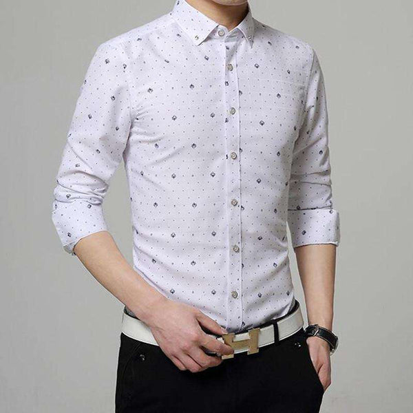 long sleeve shirts Man slim printed pattern Cotton shirt Men's fashion