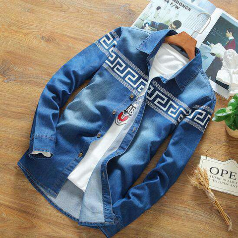 Casual Branded Cotton Long Sleeve Denim shirts