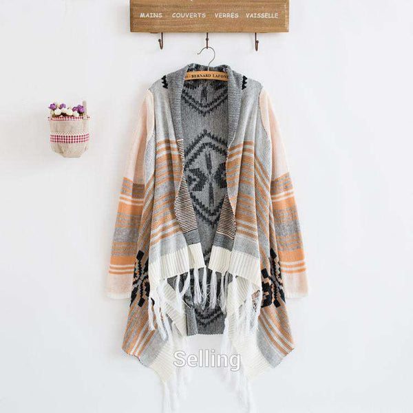 Cardigan Knit Stripe casual women