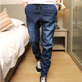 Denim Jeans Men Drawstring Slim Fit Denim