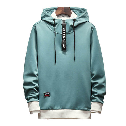 Long Sleeves Men's Zipper Collar Hip Hop Hoodie
