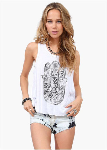 Black Buddha Printed Open Back Sleeveless Tank Top White