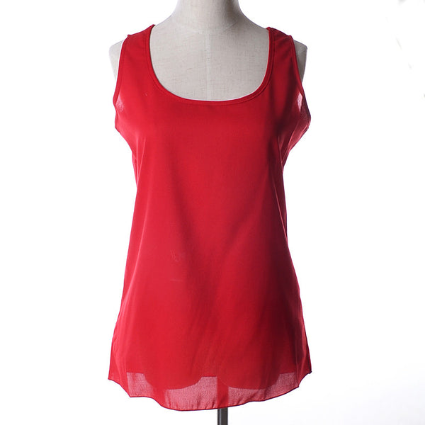 Women Clothing Sleeveless Solid Neon Candy Color Causal