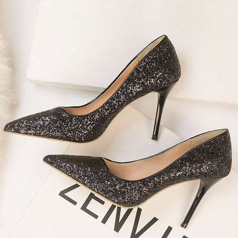 Mouth Pointed Gradient Sequined High Heels