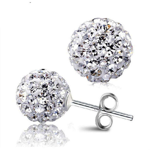 Disco Ball Shamballa Round CZ Stud Earrings For Women