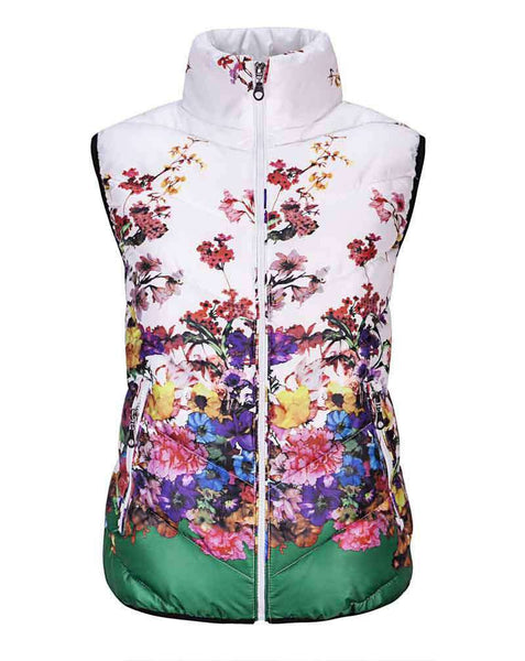Women Casual Floral Jacket Vest Outerwear