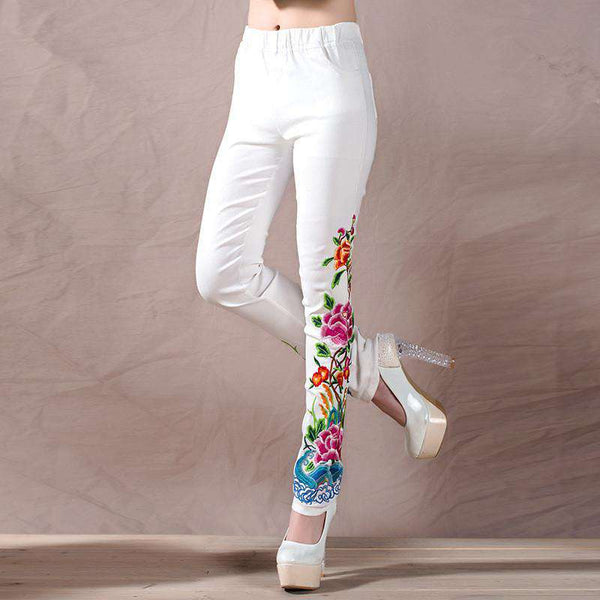 Casual Embroidered Flowers Skinny Elastic Waist Long Pant for Women