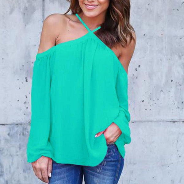 Women Fashion T-Shirt Solid Off Shoulder Tops