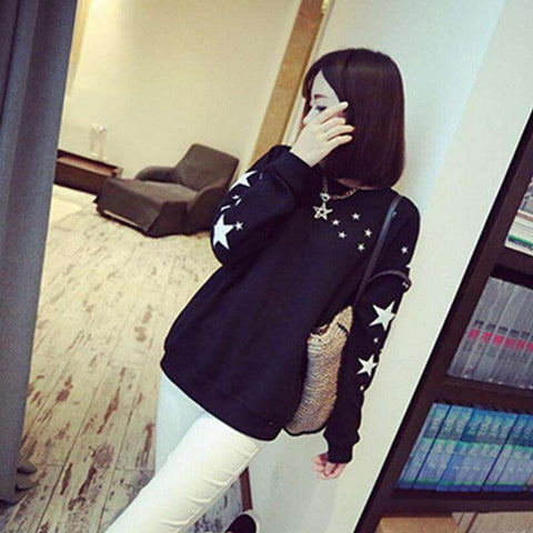 Women's Girl Jumper Pullover Five-pointed star Long Sleeve