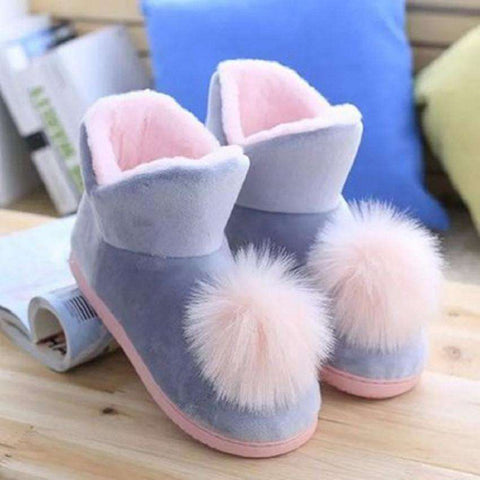 Lovely Ladies Crystal Plush Home Slippper Warm Boots