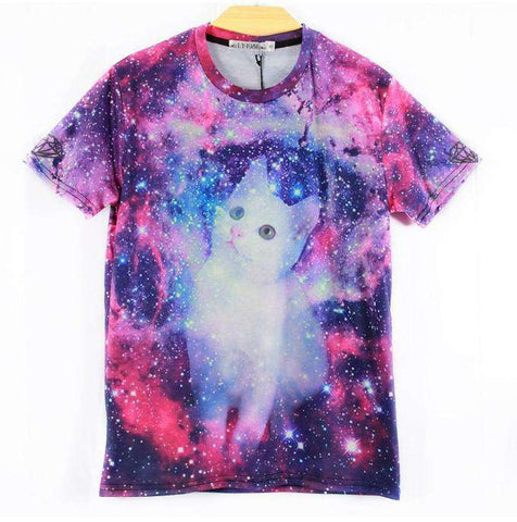 men 3d galaxy print t shirt space white cute cat printed