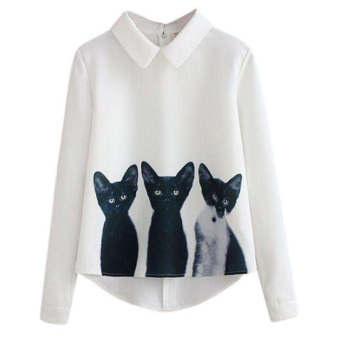 Cats Printed Pullover Shirts Long Sleeve Casual Women