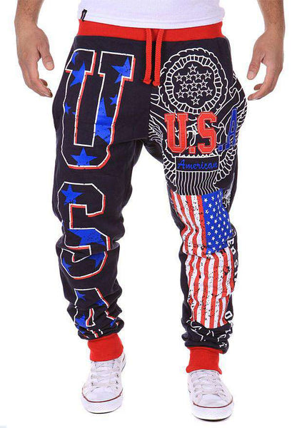 Men's American USA Flag Printed Joggers