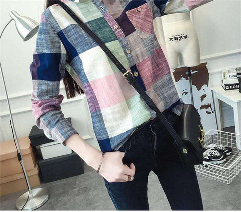 Casual Cotton Long Sleeve Plaid Shirt Women Slim