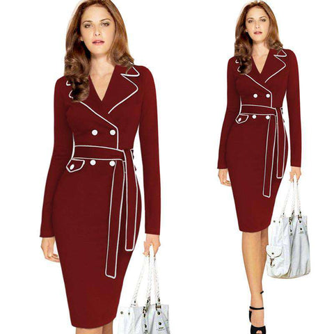 Button Bandage Bodycon Pencil Office Dress Red