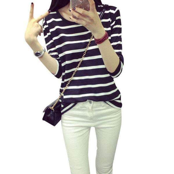 Long Sleeve Black/White Stripe Pattern Cotton O-Neck Shirt