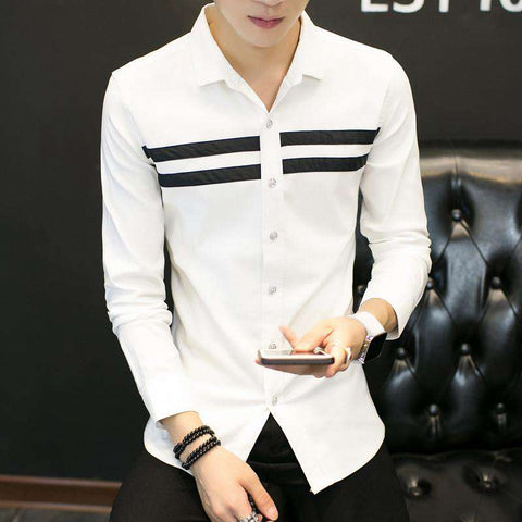 Casual Men Shirts Bust Striped Long Sleeve Dress Slim