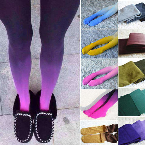 Girls Candy Color Gradient Thick Cotton Pantyhose Stockings